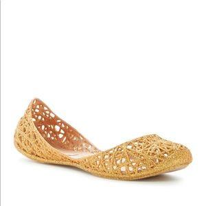New Melissa Ziggy Retro Flat in Gold Glitter
